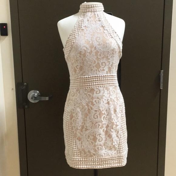 b123621049e White High Neck Lace Crochet Bodycon Dress